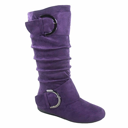 (TOP Moda Bank-81 Women's Fashion Round Toe Flat Heel Zipper Buckle Slouchy Mid-Calf Boot Shoes (6, Purple))