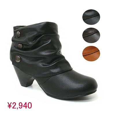 92b1c371f2dfc4 Amazon   ショートブーツ ボタン飾り付き やわらかシャーリングブーツ レディース LL(24~24.5cm) キャメル    ファッションシューズアベリア   ブーツ・ブーティ