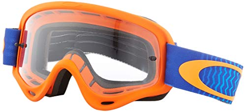 Oakley XS O-Frame Shockwave Orange Blue with Clear unisex-child Goggles (Orange, Small), 1 Pack