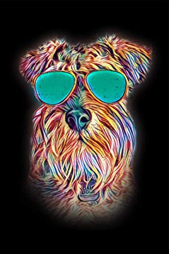 (Miniature Schnauzer: Neon Dog with Sunglasses Blank Lined Journal Notebook Diary)
