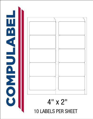Compulabel 312153 White Shipping, Removable Adhesive, FAB Labels for Laser and Inkjet Printers, 4 x 2 Inches, 10 Per Sheet, 100 Sheets Per Carton 5163 Laser Printer Labels