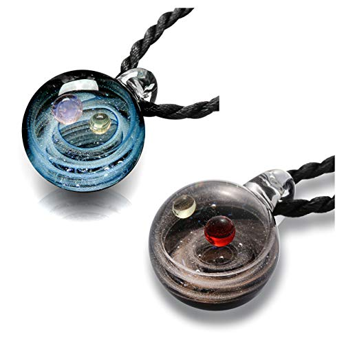 Jovivi Natural Lampwork Glass Pendant Necklace,Unique Special Universe Galaxy Space Cosmos Design, Series Nebula Ribbon Double Planet, Pack of 2