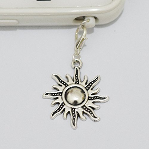 Silver Sun Cell Phone Charm, Sun Dust Plug, Unique Cell Phone Charm, Headphone Jack Charm ,Silver Phone Charm Dust Plug,charm Dust Plug for Iphone 3,iphone4,iphone 4s ,Iphone 5,iphone 5s,iphone 6, Samsung S3,samsung S4, Samsung S5 ,Note 2,note 3, Ipad 2,ipad 3,ipad 4,ipad 5 Nokia,htc One M7, Ipad Mini Dust Plug (Headphone Jack Charms Iphone6 compare prices)