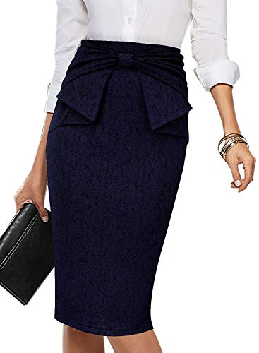 VFSHOW Womens Navy Blue Rose Jacquard Pleated Bow High Waist Slim Work Office Business Pencil Skirt 2168 BLU XXL