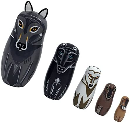 ロシア入れ子人形 マトリョーシカ 旅行お土産 動物の柄 人形 木製 キュート 置物 全6パタン選べ - 狼