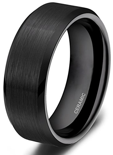 Somen Tungsten 8mm Ceramic Black Brushed Comfort Fit Wedding Ring, 10 8 Mm Ceramic Ring
