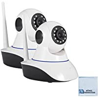 2 eCostConnection 1080P HD Wi-Fi Wireless IP Cameras with remote Pan/Tilt, Microphone, Speaker infrared LED night vision, Motion Detector and Micro SD Slot for local storage + Microfiber Cloth