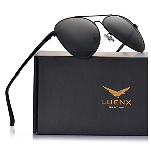 (LUENX Men Women Aviator Sunglasses Polarized Non-Mirror Black Lens Black Metal Frame with Accessories UV 400 Protection 60MM)
