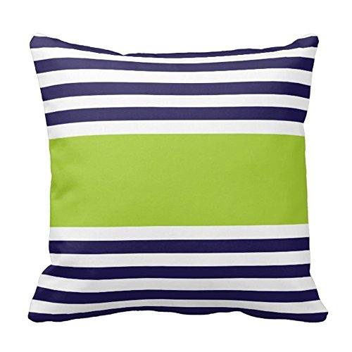 Navy Blue and White With Green Stripe Design Sofa Home Decor Pillow Case Covers (Bag Blue Green)