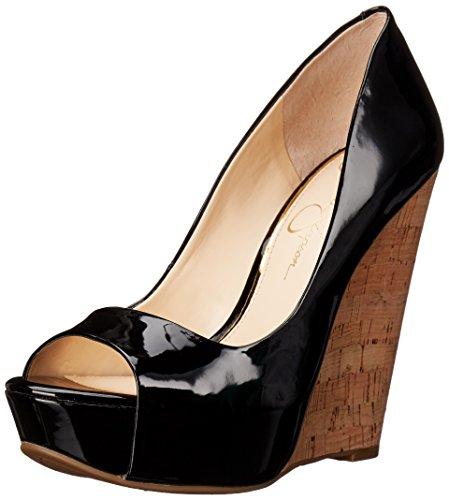 Jessica Simpson Women's Bethani Wedge Pump, Black 01, 6 M US (Leather Jessica Platforms)