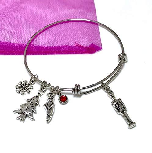 Nutcracker Charm Bracelet Ballet Slipper Christmas Tree Snowflake Stainless Steel Expandable ()