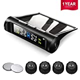 Favoto TPMS Tire Pressure Monitoring System Solar Power Universal Wireless with 4 External Sensors Real-time Display 4 Tires' Pressure&Temperature 22-87 PSI [2 More Battery] Car Alarm System
