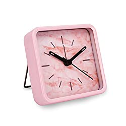Slash Modern Small Portable Marble Pattern Metal Case Quartz Analog Desk Clock for Sitting Room, Bedroom, Office, Battery Operated, Loud Alarm, Quiet, Non-ticking Sweep Second Hand (Pink Marble)