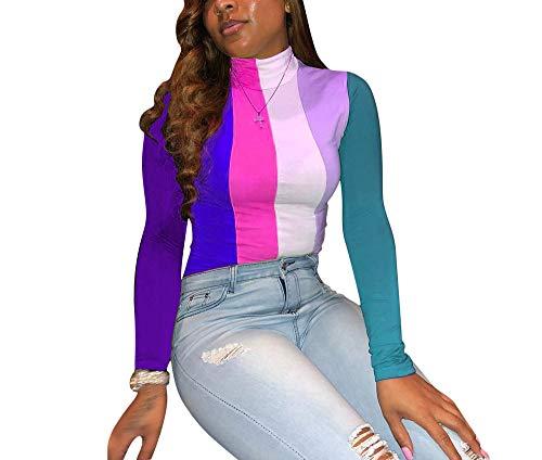 (Remelon Womens Long Sleeve Rainbow Stripe Print Turtleneck Pullover Slim Fit T Shirt Blouse Top Rosy XL)