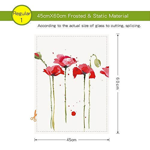 Pechalar - Corn Poppy Stained Static Cling Window Film Frosted Opaque Privacy Glass Sticker Home Decor Digital Print