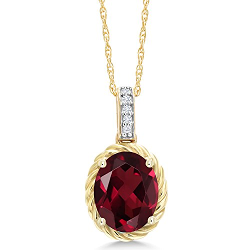 Gem Stone King 2.04 Ct Oval Red Rhodolite Garnet White Diamond 10K Yellow Gold Pendant