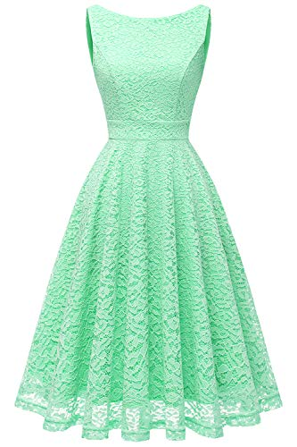 Bbonlinedress Women's Short Floral Lace Bridesmaid Dress V-Back Sleeveless Formal Cocktail Party Dress Mint XL by Bbonlinedress