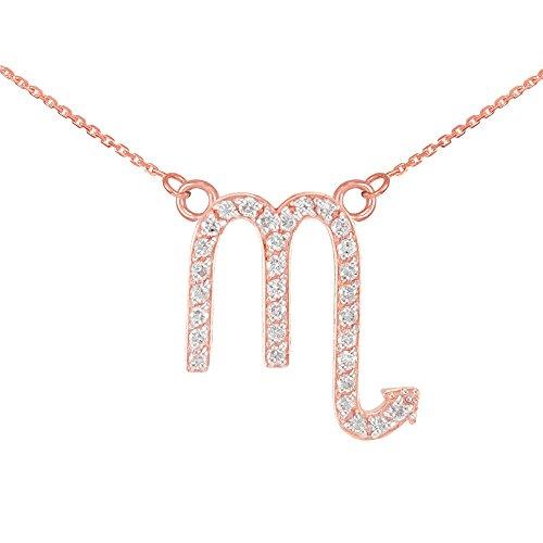 Collier Femme Pendentif 14 ct Or Rose Scorpion Signe Du Zodiaque Diamant (Livré avec une 45cm Chaîne)