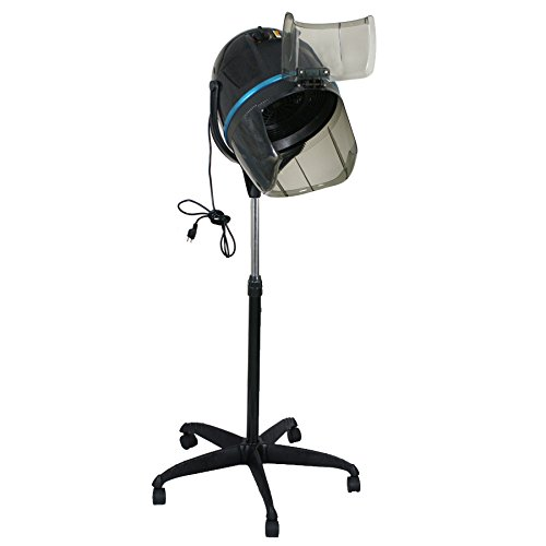 Price comparison product image Super Deal Adjustable Hood Floor Hair Bonnet Dryer Stand Up Rolling Base with Wheels Salon Equipment (Black)