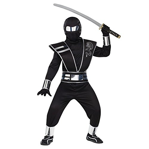 Fun World FW131602-M Boys Silver Mirror Ninja Costume Size Small