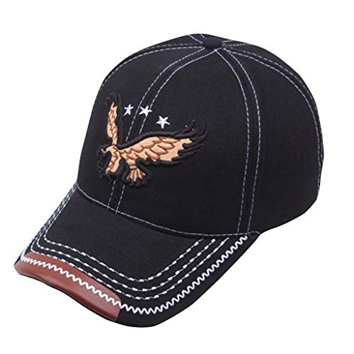 Matoen Women Man Baseball Hat Embroidered Eagle Denim Adjustable Cap Fashion Outdoor Sports (Black)
