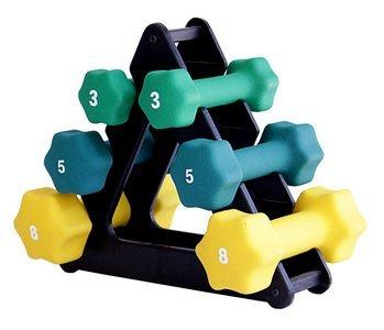 Neoprene Dumbbell Set- 3, 5, 8 LB w Rack