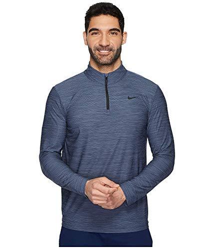NIKE Mens Breathe Dri-Fit 1/4 Zip Long Sleeve Training Shirt 940177 (Large, Light Carbon/Thunder Blue-Black) ()
