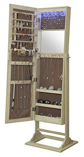Oak Mirror Jewelry Armoire - Abington Lane Standing Jewelry Armoire - Lockable Cabinet Organizer with Full Length Mirror and LED Lights (Natural Oak)