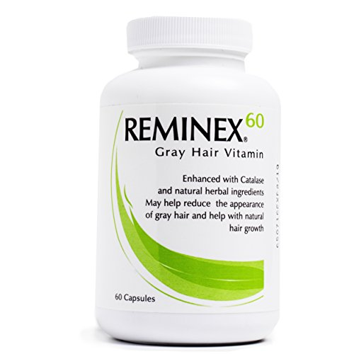 Reminex 60 Anti-Gray Hair Vitamin - Enriched With Catalese To Restore Gray and White Hair To Original Color - Essential Nutrients Promote Hair Regrowth (1 Bottle)
