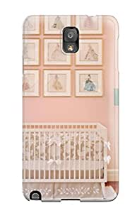 For Galaxy Note 3 Protector Case Romantic Peach Girl8217s Nursery With Crib 038 Barbie-themed Art On Wall Phone Cover