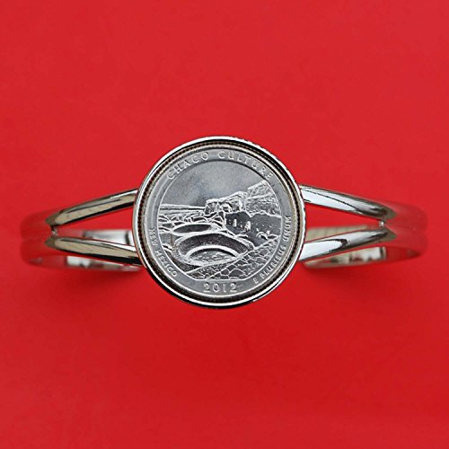 US 2012 New Mexico Chaco Culture National Historical Park Quarter BU Unc Coin Silver Plated Cuff Bracelet - Beautiful