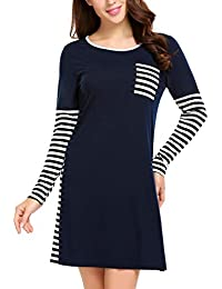 3ccfc538dd Women s Stripe Sleep Shirt Long Sleeves O Neck Nightgown Soft Sleepwear (S-XXL)