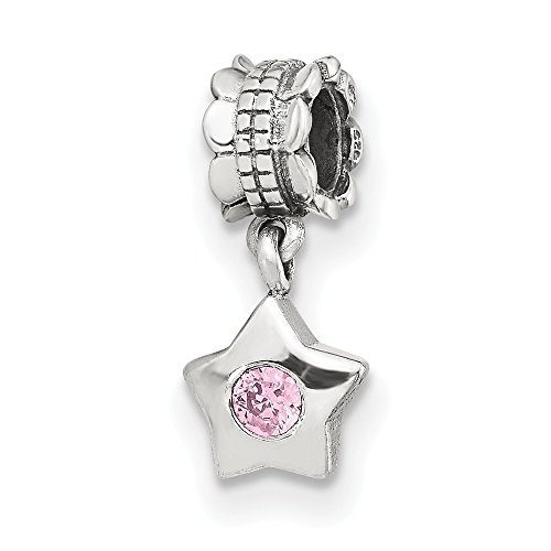 925 Sterling Silver Charm For Bracelet Pink Cubic Zirconia Cz Star Dangle Bead Stone Crystal Ed Fine Jewelry Gifts For Women For Her ()