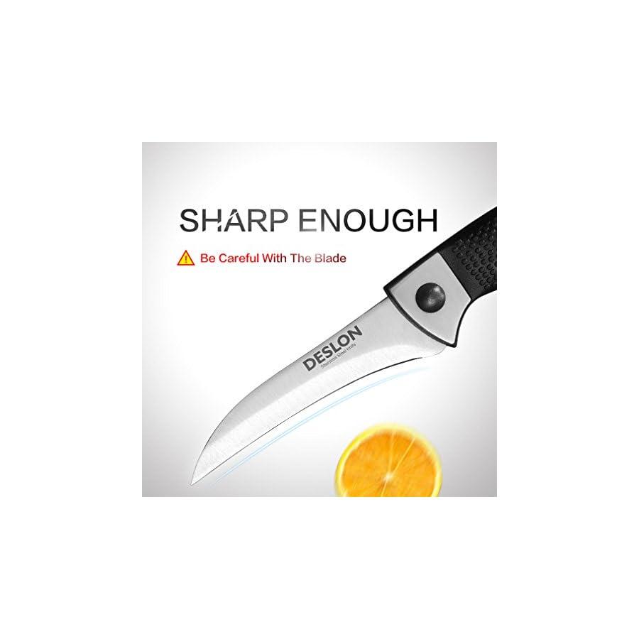 "DESLON Birds Beak Paring Knife, High Carbon Steel Peeling Carving Cutting Sharp Knives for Vegetables and Fruit 3.66"""