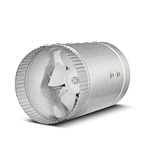 Flexzion Inline Duct Fan Booster - (6 Inch, 280 CFM) Exhaust Blower Vent Air Extractor Ventilation System HVAC Low Noise Quiet Operation with Aluminum Blade & Grounded Power Cord ()