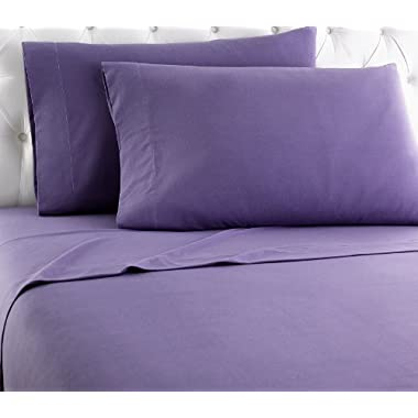 Shavel Home Products Micro Flannel Sheet Set, California King, Plum