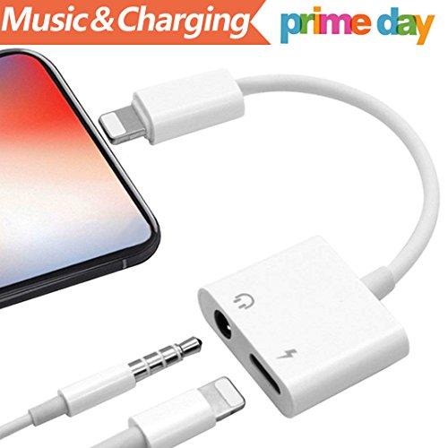 Price comparison product image Lightning Adapter Headphone Jack Dongle for iPhone 7 / 7Plus 8 / 8PlusiPhone X 10 iPod / iPad.Converter Earphone to 3.5mm Adaptor Accessories Cable Music and Charger Volume Control Compatible iOS11 or Late