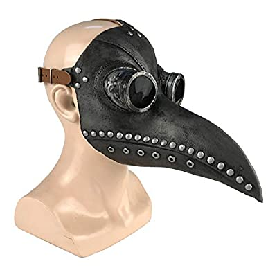 Hankyky Steampunk Plague Doctor Bird Beak Mask, Medieval Bubonic Plague DR Halloween Costume Masquerade Masks: Home & Kitchen
