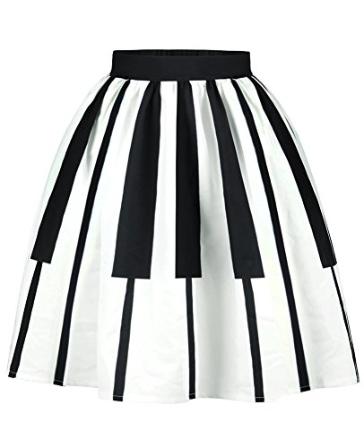 Price comparison product image ABCHIC Big Girls' Piano Keys Mini Pleated Skirt Fit For Over 14 Years Old Women