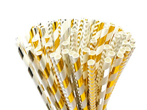 PARTYSOME 240 Silver/Gold Biodegradable Paper Straws, For Baby/Bridal Shower, Snowflake, Anniversary, 21st/30th/50th Birthday, Engagement, Sweet 16, Bachelorette Party, Wedding Decorations ()