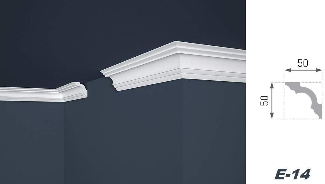 L/ég/èrement stables Baguettes en polystyr/ène E-14 50 x 50 mm Blanc 2 m/ètres D/écorative Moulure d/écorative moderne Barre de stuc