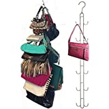 2-Pk Over Door Hanging Purse Storage - Durable, Holds 50 POUNDS, ROTATES 360 for Easy Access; Purses, Handbags, Satchels, Cro
