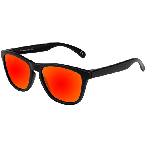 FEIDU Polarized Men Wayfarer Sunglasses Classic Mirror Eyewear Unisex FD 0628 (Black - Red, 2.08) - Classic Wayfarer Polarized