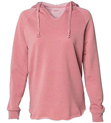Koloa Surf Women's Lightweight California Wavewash Hooded Pullover Sweatshirt-L-DustyRose