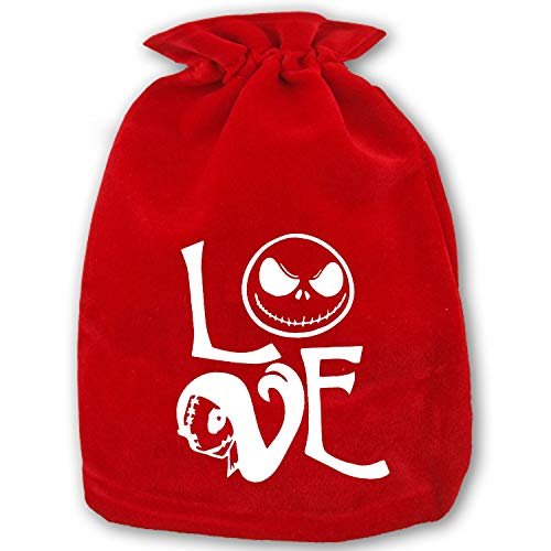 Christmas Santa Sacks - Size 13.78X 17.72 Personalized Xmas Gifts Bags Drawstring Kids Love Jack Skellington Sally ()