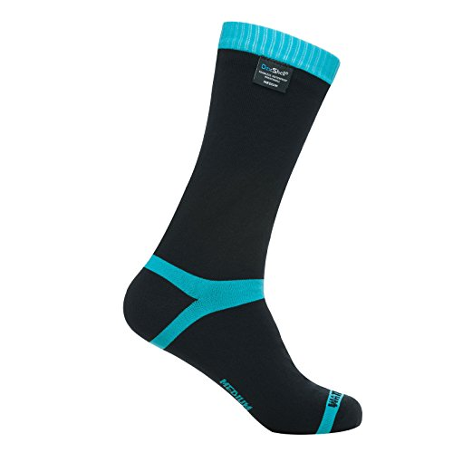 Dexshell Coolvent Mid-Calf Waterproof Socks, Aqua Blue, Large (Coolmax Fx Sock)
