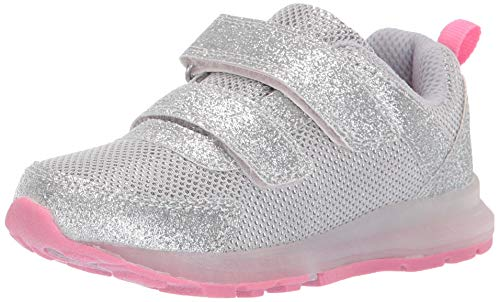 carter's Girl's Drew Metallic Light-Up Sneaker, Silver, 8 M US - Metallic Silver Toddler Footwear