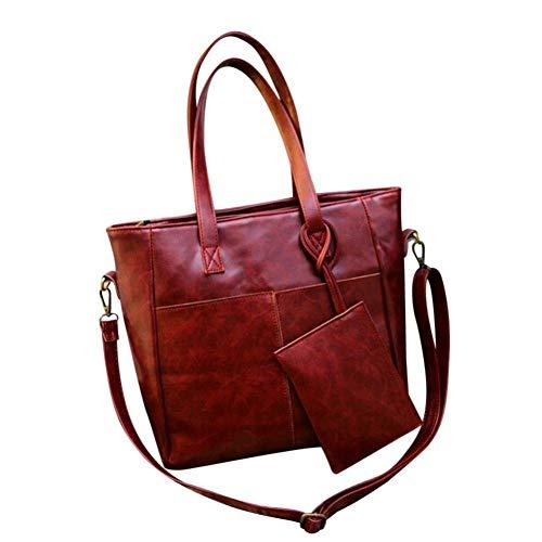 Moontang Borse a tracolla in pelle moda donna con corssbody Borsa e borsa + portafoglio frizione (Colore : Nero, Dimensione : A) Rosso