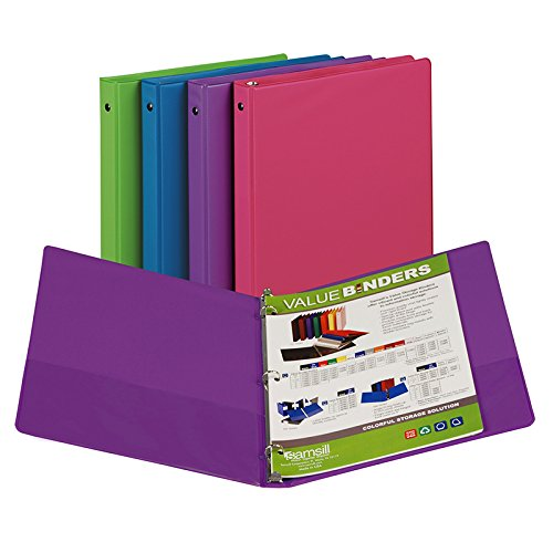 ashion Asst. Color Binders, 1/2 Inch Cap, MultiPk 12 Each ()