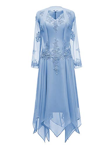 tutu.vivi V-Neck Chiffon Tea Length Mother of The Bride Dress Long Sleeves Lace Formal Evening Gowns with Jacket Blue -